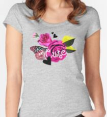 Cute Collage With Butterfly and Pink Roses Women's Fitted Scoop T-Shirt
