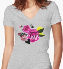 Cute Collage With Butterfly and Pink Roses Women's Fitted V-Neck T-Shirt