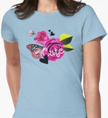 Cute Collage With Butterfly and Pink Roses T-Shirt