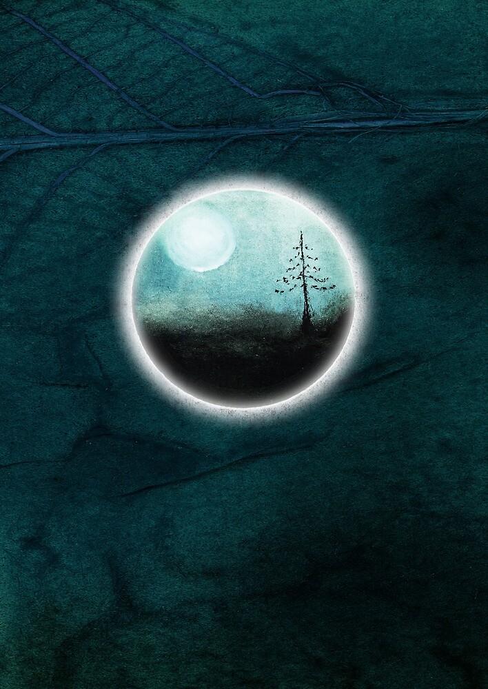 tree blue moon teal by tamlit