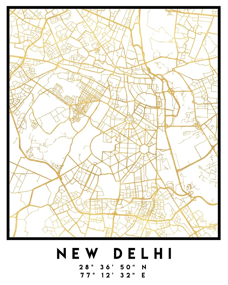 NEW DELHI INDIA CITY STREET MAP ART by deificusArt