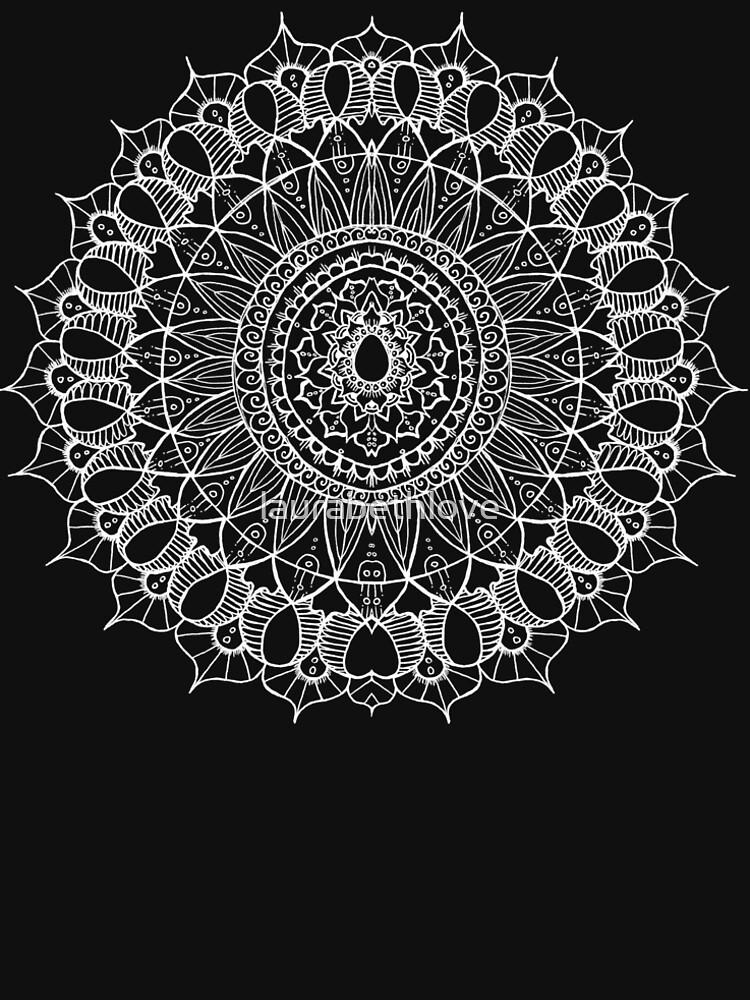 Bohemian Mandala - White on Black by laurabethlove