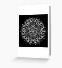 Bohemian Mandala - White on Black Greeting Card