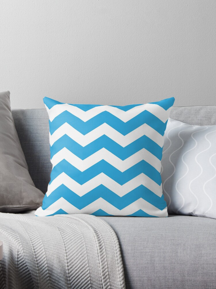 Blue And White Chevron by XanderOne