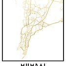 MUMBAI INDIA CITY STREET MAP ART by deificusArt