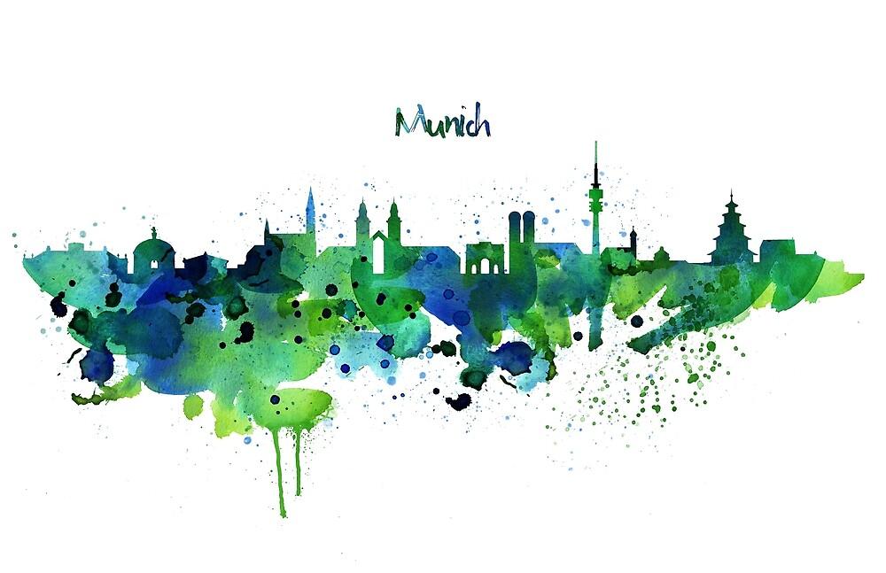 Munich Skyline Silhouette by Marian  Voicu