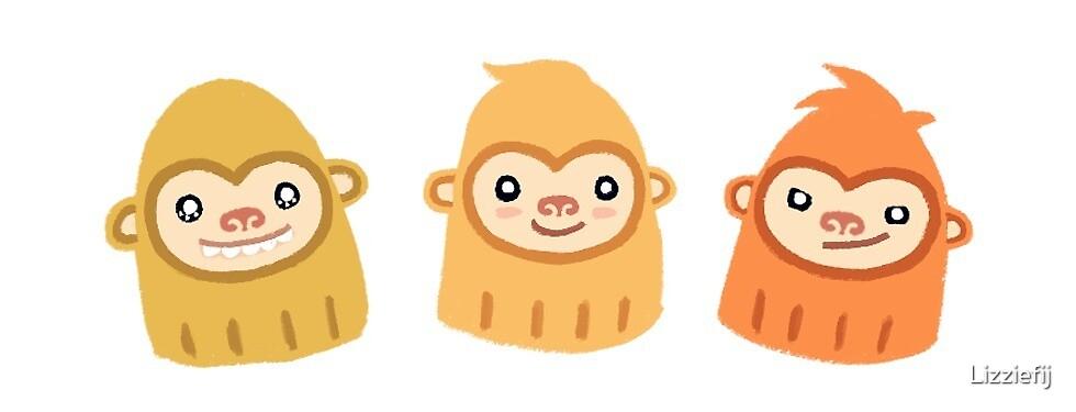 Slothmonkey Trio Stickers by Lizziefij