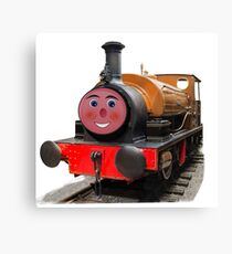 Gold steam train with a fun face Canvas Print