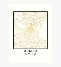 DUBLIN IRELAND CITY STREET MAP ART Art Print