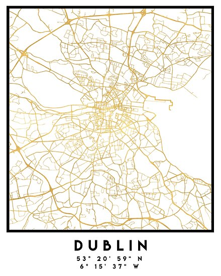 Map Of Dublin 6 Ireland.Dublin Ireland City Street Map Art Posters By Deificusart Redbubble