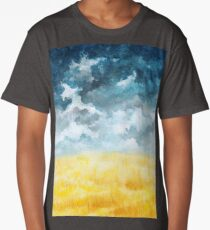 Clouds and Wheat Field Long T-Shirt