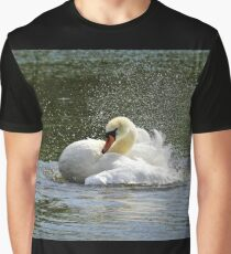 Mute swan having a bath Graphic T-Shirt