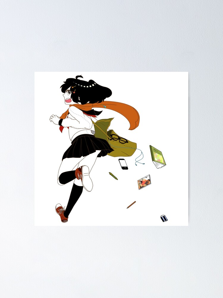Anime School Girl In A Hurry Poster By Raionkeiji Redbubble