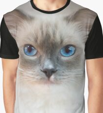 White Kitty With Blue Eyes Graphic T-Shirt