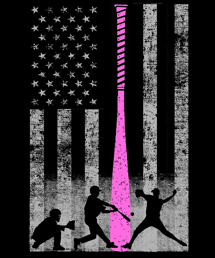 Baseball Flag - Breast Cancer Awareness With Pink Bat by eternallygifted