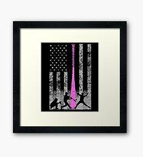 Baseball Flag - Breast Cancer Awareness With Pink Bat Framed Print