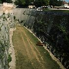 Old inner moat Chateau de Caen 19840819 0077  by Fred Mitchell