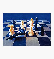 Chess in Blue Photographic Print