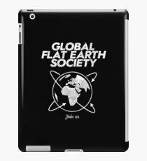 Flat Earth, Global Flat Earth Society, funny parody Distressed Shirt. iPad Case/Skin