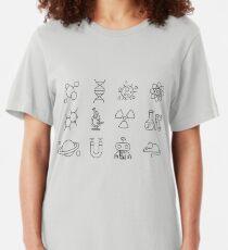 Wissenschaftslinie Icons Slim Fit T-Shirt