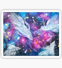 Galaxy Bettas Swimming Through Space Sticker