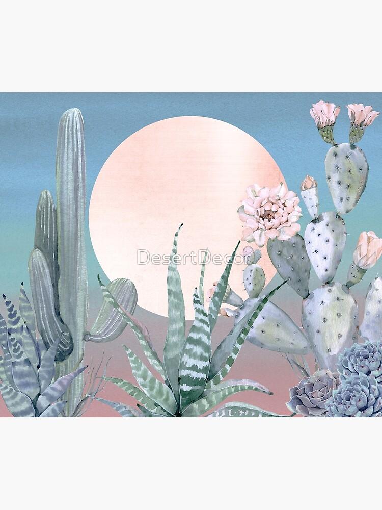 Cactus Twilight Pretty Pink Rosegold and Blue Desert Cacti Illustration by DesertDecor