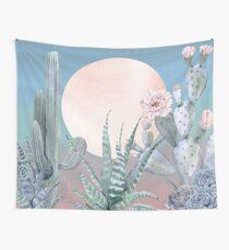 Kaktus-Dämmerungs-hübsches rosa Rosegold und blaue Wüsten-Kaktus-Illustration Wandbehang