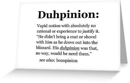 Duhpinion - dumb opinion, stupid idea. by Thepinion