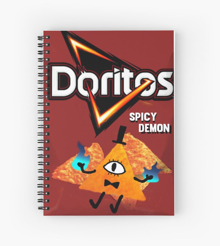 """Doritos Stickers: """"Bill Cipher Demon Doritos"""" Spiral Notebooks By"""