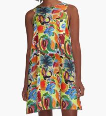 Bright colourful abstract nature pattern A-Line Dress