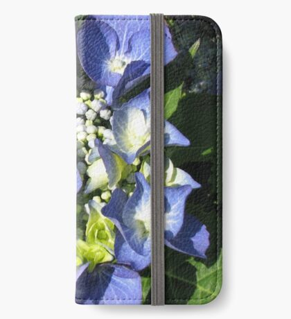 Blaue Spitzenkappe - Hortensienblüte iPhone Flip-Case
