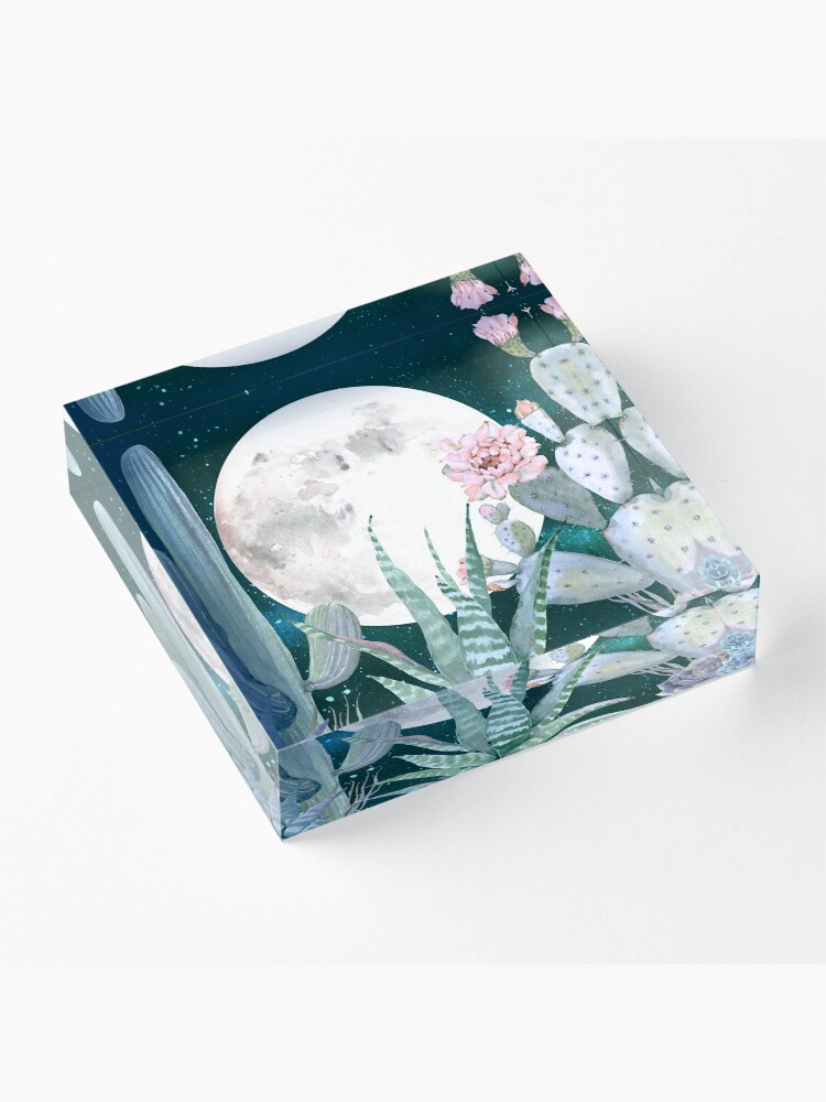 Alternate view of Cactus Nights Pretty Pink and Blue Desert Stars Cacti Illustration Acrylic Block