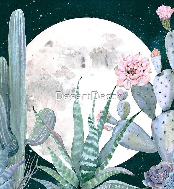 Cactus Nights Pretty Pink and Blue Desert Stars Cacti Illustration by DesertDecor