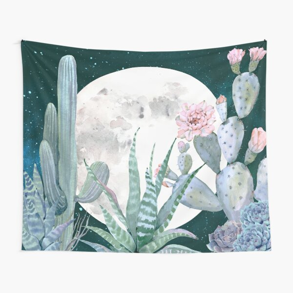 Cactus Nights Pretty Pink and Blue Desert Stars Cacti Illustration Tapestry