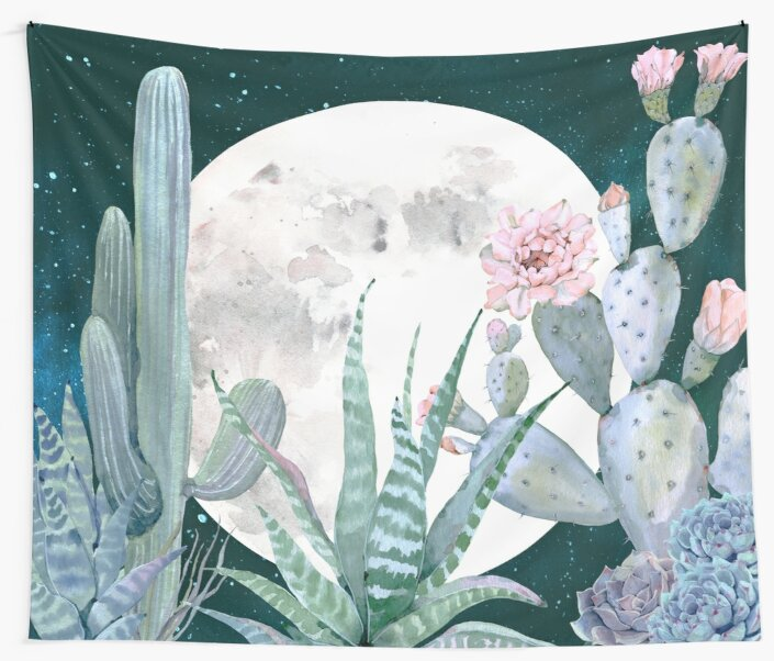 Cactus Nights Pretty Pink and Blue Desert Stars Cacti Illustration by DesertDecor