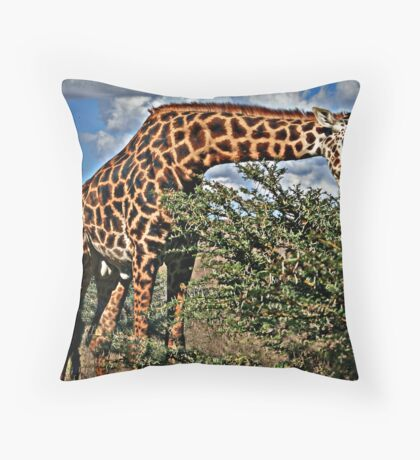 Giraffe Eating Throw Pillow