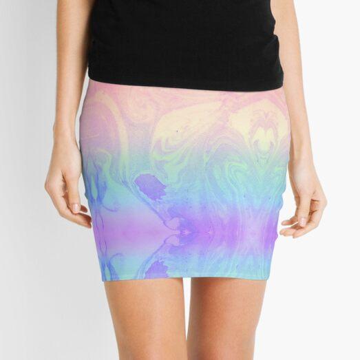 Rainbow Marbled Tie Dye Mini Skirt