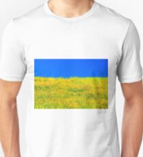 yellow poppy flower field with green leaf and clear blue sky T-Shirt
