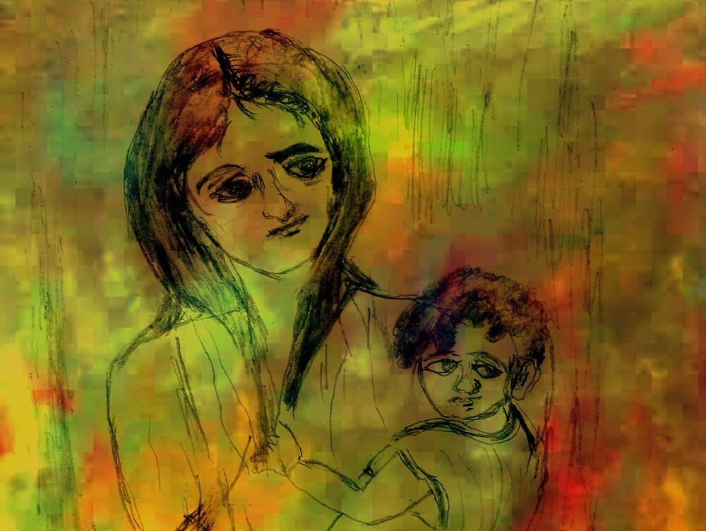 The mother and her child by Devabrata