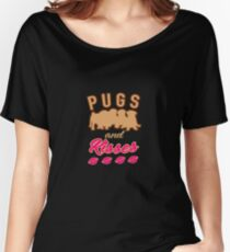 Pugs And Kisses - Pug Life, Dog Lover, Pug Dog, Pets Women's Relaxed Fit T-Shirt