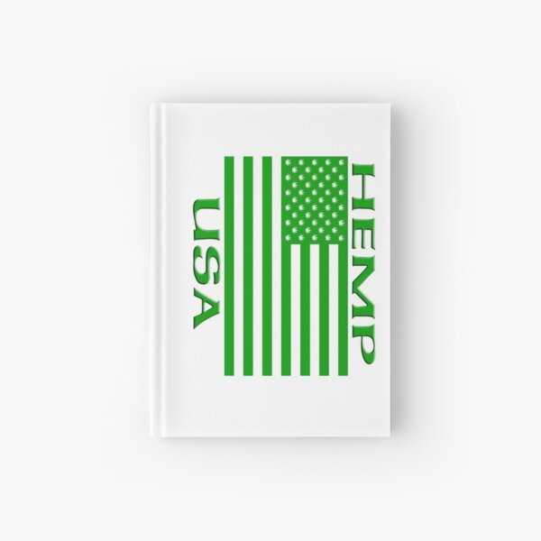 Hemp USA Flag with Hemp leaf Stars Hardcover Journal