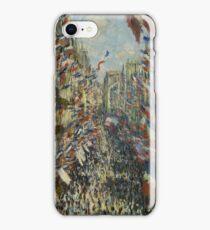 The Rue Montorgueil in Paris. Celebration of June 30, 1878  Claude Monet iPhone Case/Skin