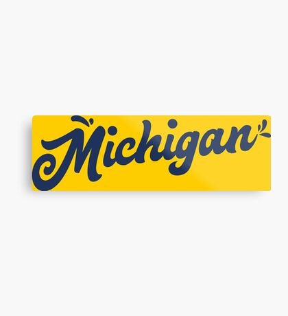 Michigan Hand Lettering Metal Print