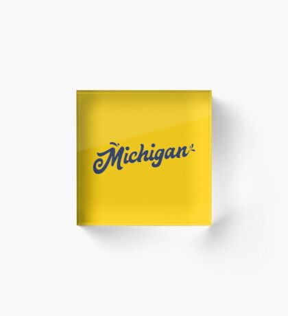 Michigan Hand Lettering Acrylic Block