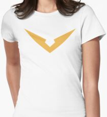 """Hunk Yellow Paladin Voltron """"V"""" Logo Women's Fitted T-Shirt"""