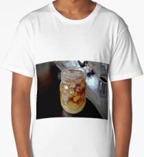 Iced Coffee with Cream in a Vintage Glass Mason Jar Long T-Shirt