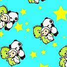 Dino & Panda Star Pattern by DinoPanda