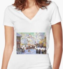 Shrovetide 1919 Boris Kustodiev Women's Fitted V-Neck T-Shirt