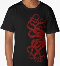 Red Vintage Octopus  Tentacles Illustration Long T-Shirt