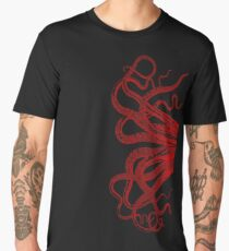 Red Vintage Octopus  Tentacles Illustration Men's Premium T-Shirt